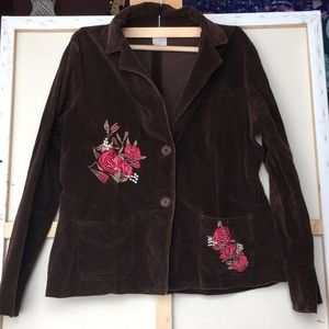 Floral Embroidered brown corduroy jacket Szxl
